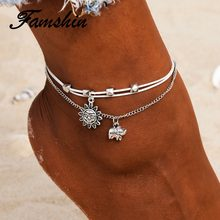 FAMSHIN Vintage Multiple Layers Anklets for Women Elephant Sun Pendant Charms Rope Chain Beach Summer Foot Ankle Bracelet Jewelr(China)
