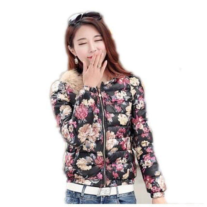 2016 Winter New Wadded Jacket Coat Women Fur Collar Printed Cotton-padded Outerwear Thicken Warm Short Cotton Jacket Parka A1227