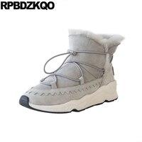 Hohe Qualität Grau Neue Turnschuhe Flache Breiten Kalb Marke Frauen Winterstiefel Aus Echtem Leder Ankle Booties Schuhe Lace Up Schnee