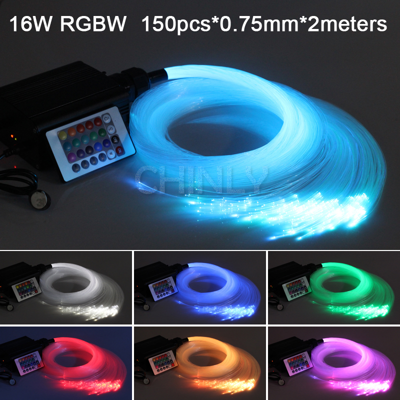 16W RGBW 24key IR remote LED  Fiber optic light Star Ceiling Kit Lights 150pcs 0.75mm 2M optical fiber lighting+crystal 16w rgbw 200pcs 1 0mm 2m led fiber optic light star ceiling kit lights optical lighting rf 24key remote engine 5pcs crystal