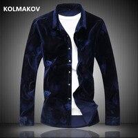 2019 winter High quality shirt men's casual velvet long sleeves Business shirts mens cotton and velours shirts men M 6XL 7XL
