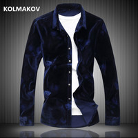 2019 winter High quality shirt men's casual velvet long sleeves Business shirts mens cotton and velours shirts men M 6XL 7XL