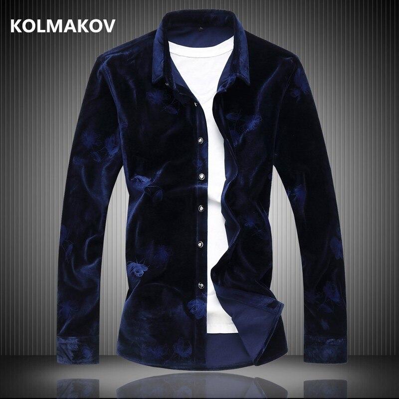 2020 winter High quality shirt men's casual velvet long sleeves Business shirts mens cotton and velours shirts men M-6XL 7XL