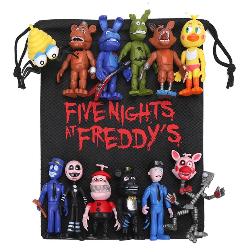 New 13pcs/lot FNAF PVC Action Figures With Gift Bag 10-11.5cm Five Nights At Freddy's Freddy Fazbear Foxy Dolls Toys Brinqudoes