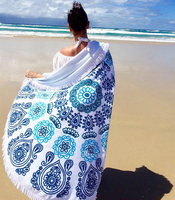 Large Beach Towel Round Beach Towels round towel bathroom Bath Towels tassel printing Big cotton