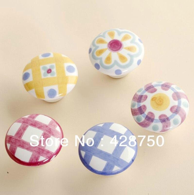 US $16.0 |38mm pomelli in ceramica da letto cucina porta dell\'armadio  armadio manopola pull cassetti maniglia (stile facoltativo, 5  pezzi/lottp)-in ...
