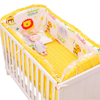6Pcs Sets Baby Bedding Set Bumper Cotton Cartoon Comfortable Animal Newborn Crib Sheet Pillowcase Baby Bed Bumper Set
