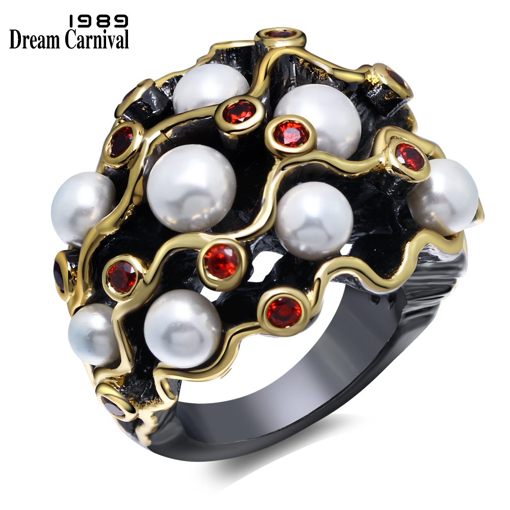 DreamCarnival 1989 Engagement Rings Gothic Vintage Black Gold Color Red CZ White Imitation Pearls Women Anel Masculino WA11539