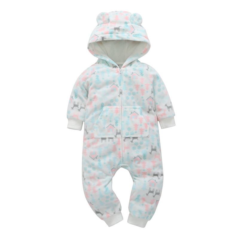 Infantil Rushed Baby Girl 2019 Autumn Winter Warm Clothes Cotton Long Sleeve One Piece Hooded   Romper   Outfits 0-24m