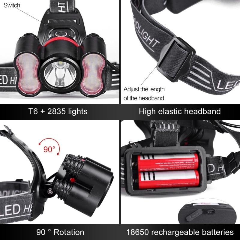 3W 20000Lm LED COB Head lamp Light Headlight Torch For Camping Hiking Fishing