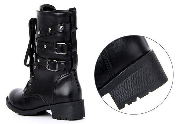 2019 New Buckle Winter Motorcycle Boots Women British Style Ankle Boots Gothic Punk Low Heel ankle Boot Women Shoe Plus Size 43 17