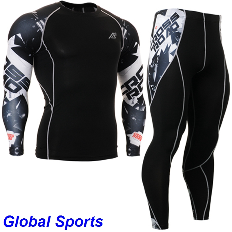 2017 yoga sets mens long sleeve suit sets for yoga compression black printed shirts+plus size striped tights size s-4xl