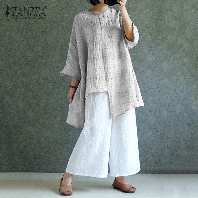 d72e6d3ffc4 ZANZEA Oversized Cotton Linen Blouse 2018 Summer Womens Long Sleeve Plaid  Blusas Split Baggy Casual Tops Vintage Shirt Blouses