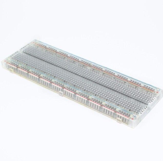 Platine de prototypage 830 points sans soudure carte à pain PCB MB-102 MB102 Test développer bricolage Transparent