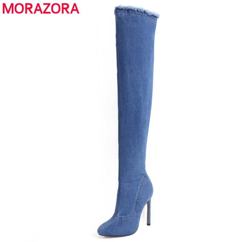 MORAZORA 2018 Denim Boots women sexy high heels thigh high boots autumn winter over the knee boots zip ladies party shoes цена
