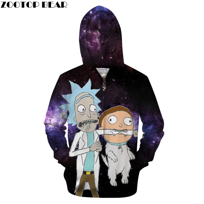 Galaxy Hoodies Mens Zip Sweatshirts Rick and Morty Hoodie 3d Pullover Zipper Hoody Anime Tracksuits Autumn DropShip ZOOTOP BEAR