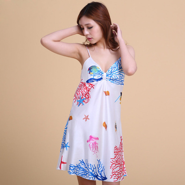 4a9293d592e 22 Style Summer Sexy Sleepwear Night Gown Women Deep-V Silk Sleep Dress  Plus Size Nightgown Nighwear for Women Sling Sleepshirts