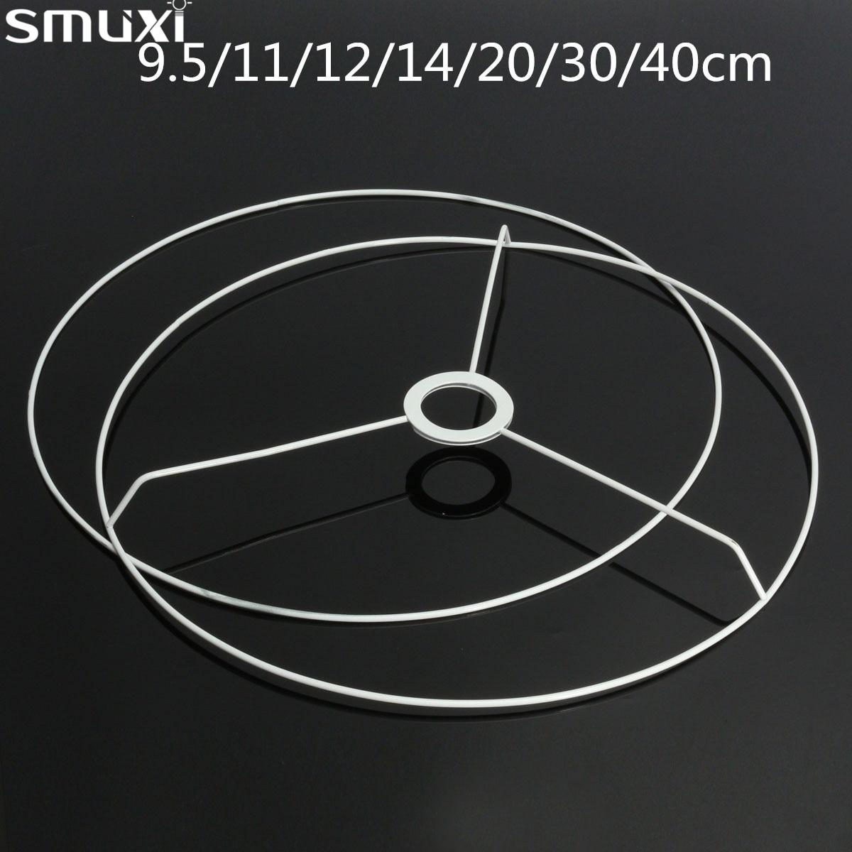 Smuxi Circular Lampshade Frame Ring 11/12/14/20/30/40cm Diameter Lamp Light Shade DIY Making Kit Set E27 Lampshade Frame