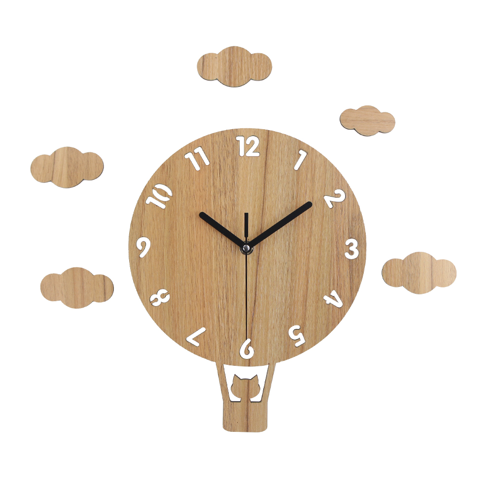 New MDF Wooden Carton Wall Clock Slient Vintage Clock Balloon Art Watch Home Decor Horloge Mural Gift for Kids Room