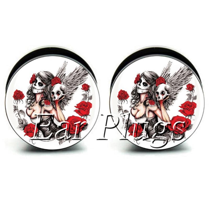 1 pair angel skull ear plug gauges black acrylic screw fit ear plug flesh tunnel body piercing jewelry PSP0642