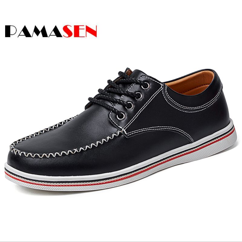PAMASEN New Arrival Spring Comfortable Casual Shoes Mens Genuine Leather Shoes For Summer Men Lace-Up Fashion Flat Loafers Shoe top fashion shoes men mens canvas shoe chaussure homme leather business breathable spring autumn solid medium b m flat lace up