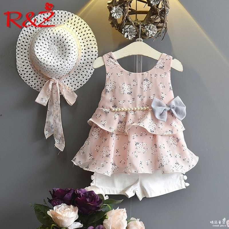 Girls Clothing Sets 2019 Summer Kids Clothes Floral Chiffon Halter+Embroidered Shorts Straw Children Clothing