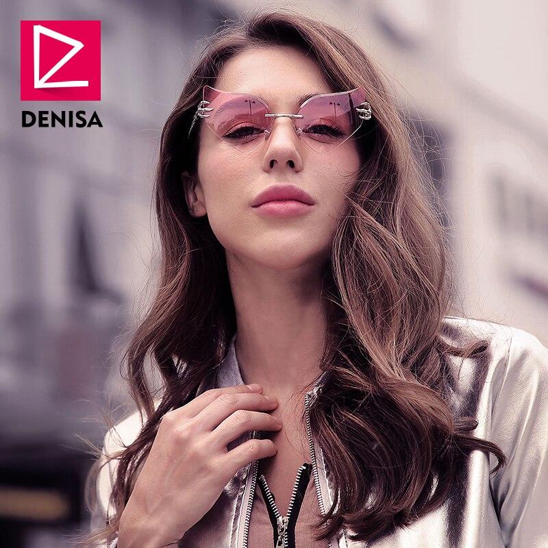 0f575df41f DENISA rosa sin montura de ojo de gato gafas de sol mujer marca famosa búho  ojo estilo de gafas de sol de mujer UV400 lunette de soleil femme g23038