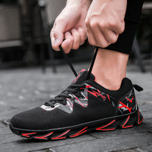 цена на 2019 men's shoes spring and summer new men's low to help leisure flying woven mesh breathable sports tide lace shoes