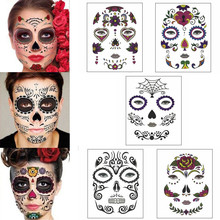 halloween temporary face art waterproof mask sugar skull tattoo beauty sticker 94china