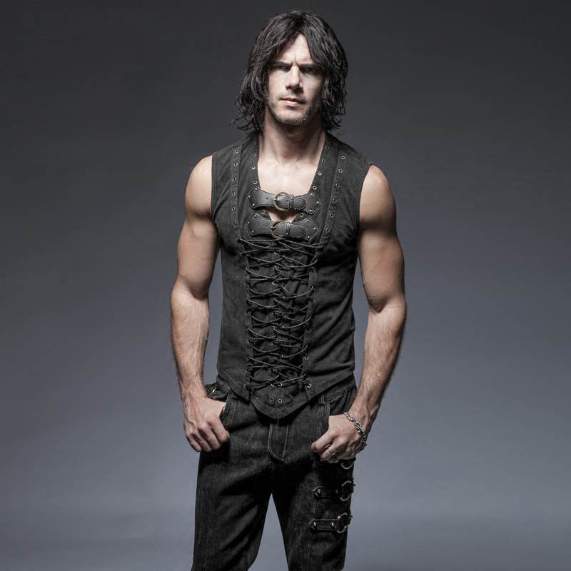 Steampunk Sleeveless Weste <font><b>Top</b></font> Beiläufige Mens-hemden Slim Fit Bandage Kreuz Einstellbare Elastische Band Sleeveless <font><b>Tank</b></font> <font><b>Top</b></font> Männer image