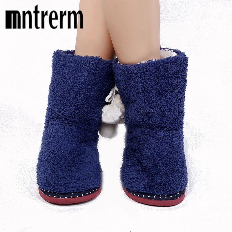 Mntrerm Kitting Wool Home Slippers 2017 New Print Plush Warm Winter Women Slippers Indoor Slippers Women Shoes