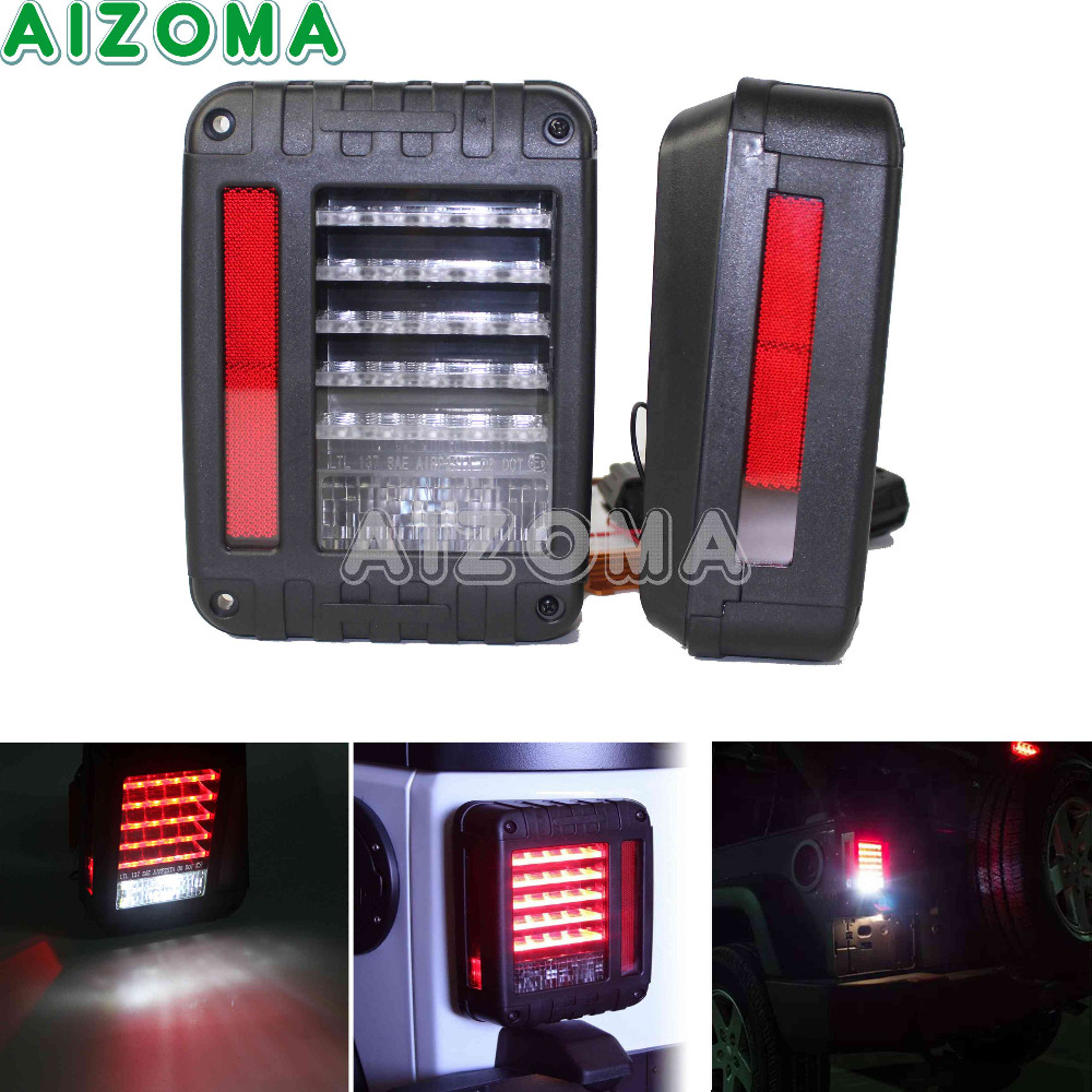 12v LED Taillight Assembly Sets Running Lamp Red Brake Tail Light With Turn Signal Light Pair For Jeep Wrangler JK 2007 2016   -