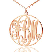 AILIN Monogram Necklace with Name Pendant Rose Gold Color Over SilverPersonalized 3 Initials Vine Monogram Round Necklace