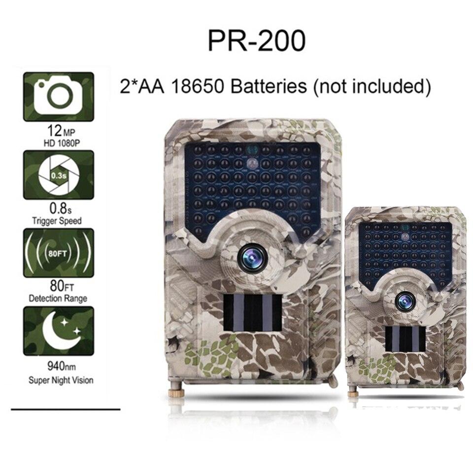 Caméra PR200 Trail 12MP 49 pièces 940nm IR LED caméra de chasse IP56 étanche 18650 batterie caméra sauvage Vision nocturne