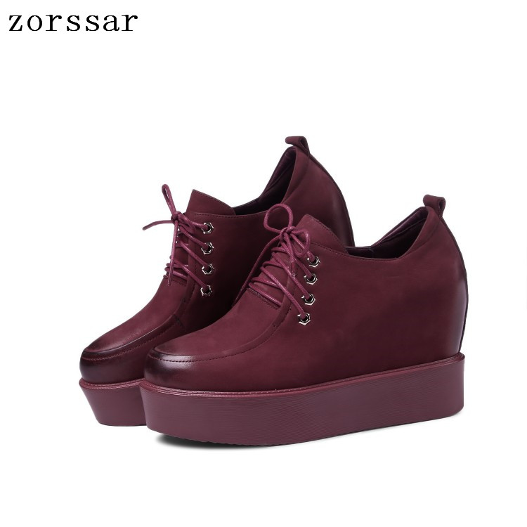 Zorssar 2019 Autumn women flats female   leather     suede   platform sneakers shoes women lace up casual flat creepers moccasins shoes
