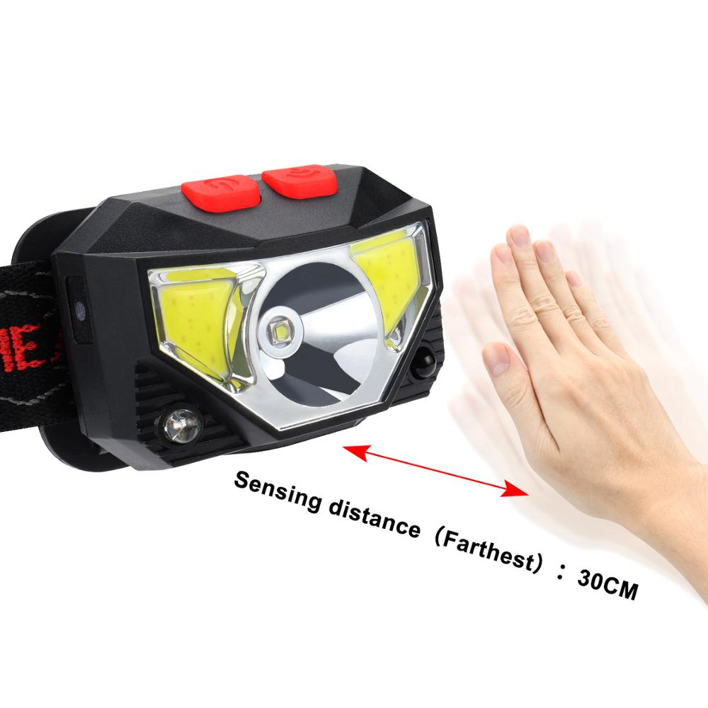 Image 3 - 6000LM Motion Sensor Inductive LED Headlight Headlamp Rechargeable Built in battery Head Torch Lamp RED Fishing Light-in Headlamps from Lights & Lighting