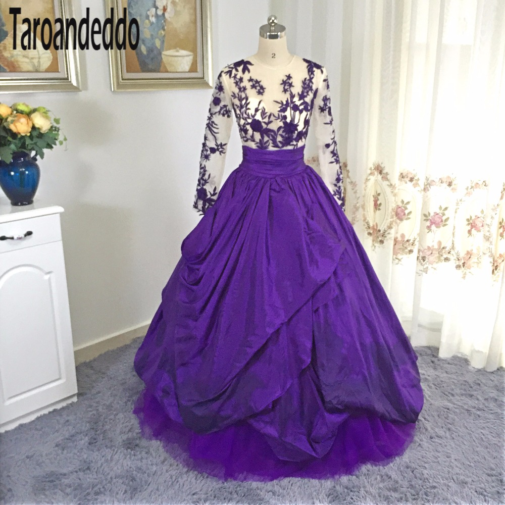 O Neck Purple Ball Gowns Prom Gown Long Sleeves Embroider