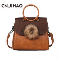 JI HAO Winter Vintage Handbags Women Bag Designer Fashion Solid Shoulder Bags Lady PU Leather Messenger
