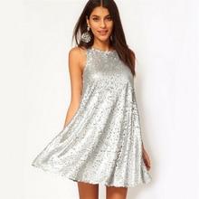Серебристое блестящее платье без рукавов, вечерние платья для ночного клуба, цельные блестящие платья, летняя женская одежда, Vestidos, повседневная женская одежда