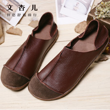2017 Women Shoes Spring Espadrilles Women Grain Leather Vintage Flat Handmade Shoes Soft Loafer Women's Flats Brown Plus Size 42