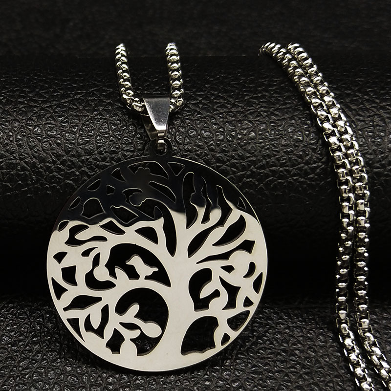 2019 Fashion Tree of Life Stainless Steel Necklaces for Women Silver Color Statement Necklace Jewelry bisuteria K775345B in Pendant Necklaces from Jewelry Accessories