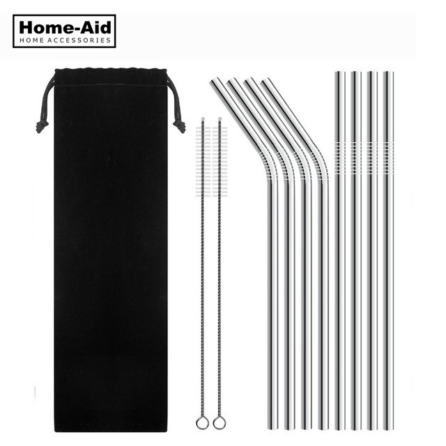 4 8Pcs Reusable Drinking Straw High Quality 304 Stainless Steel Metal Straw with Cleaner Brush For Mugs 20 30oz in Drinking Straws from Home Garden