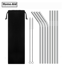 4/8Pcs Reusable Drinking Straw High Quality 304 Stainless Steel Metal Straw with Cleaner Brush For Mugs 20/30oz reusable drinking straw high quality 304 stainless steel metal straw with cleaner brush for mugs