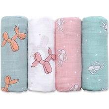 Муслиновое детское Пеленальное Одеяло из мягкого бамбукового хлопка для детской коляски с милым кроликом единорогом Китом детское одеяло 120*120 см