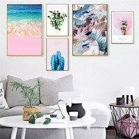 لوحة قماشية وردية على شكل ريشة أزهار إسكندنافية مطبوعة على الحائط للشاطئ مناسبة لغرفة المعيشة وغرفة النوم والمنزل ملصق ديكور ذاتي الصنع