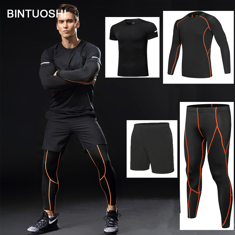 BINTUOSHI 4 pieces Dry Fit Compression Tracksuit Fitness Tight Running Set T-shirt Legging Mens Sportswear Gym Sport Suit