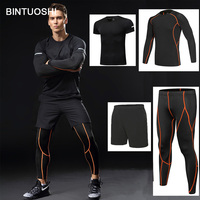 BINTUOSHI 4 pieces Dry Fit Compression Tracksuit Fitness Tight Running Set T shirt Legging Men's Sportswear Gym Sport Suit