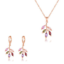 SLBRIDAL Rose Gold Fashion Bijoux Anti-allergic Girls Colorful Cubic Zirconia Necklace Pendant Earring Set Women Jewelry