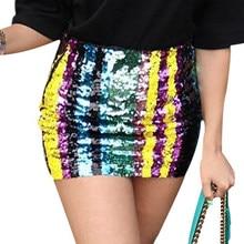 a247473a7 Rainbow Striped Sequin Skirts 2019 Summer Sexy High Waist Women Mini Skirts  Club Party Slim Bodycon Pencil Skirt Saias Femininas