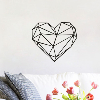 Geometric Heart Wall Stickers Vinyl Art Decals  Creative Stickers for Personality style Wall Home Decor Wedding Gift line art